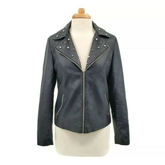 Baccini Womens Black Moto Faux Leather Jacket Size Small Zip Up Embellished