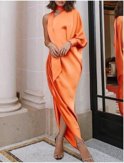 Kleid Schlank Frau Lang Orange Licht Weich Elegant Mode 4643