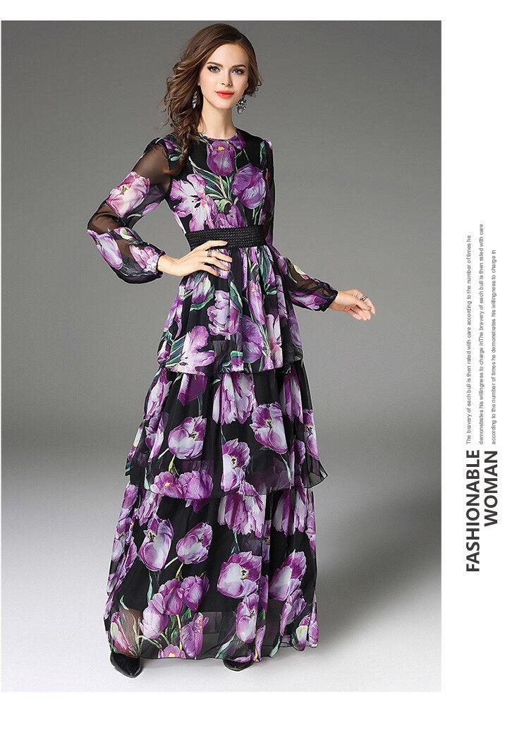 2018 Spring womens womens womens stylish temperament printing High Waist layered dress long f2cfb4
