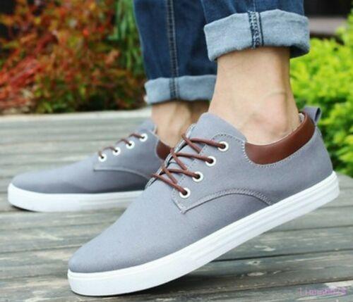 Men Casual boats Canvas Shoes Flat Loafer Lace Up Modern Low-Top Board Sneakers