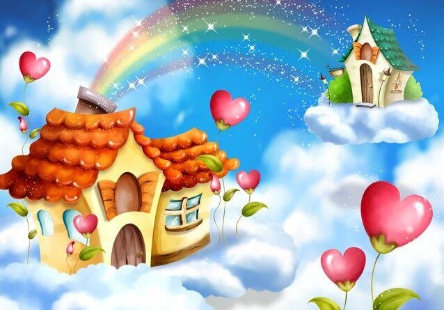 3D Cartoon-Haus1145 Fototapeten Wandbild Fototapete Bild Tapete Familie Kinder