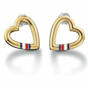2bc1dbae00851 Details about Tommy Hilfiger Ladies Open Heart Gold Plated Stud Earrings