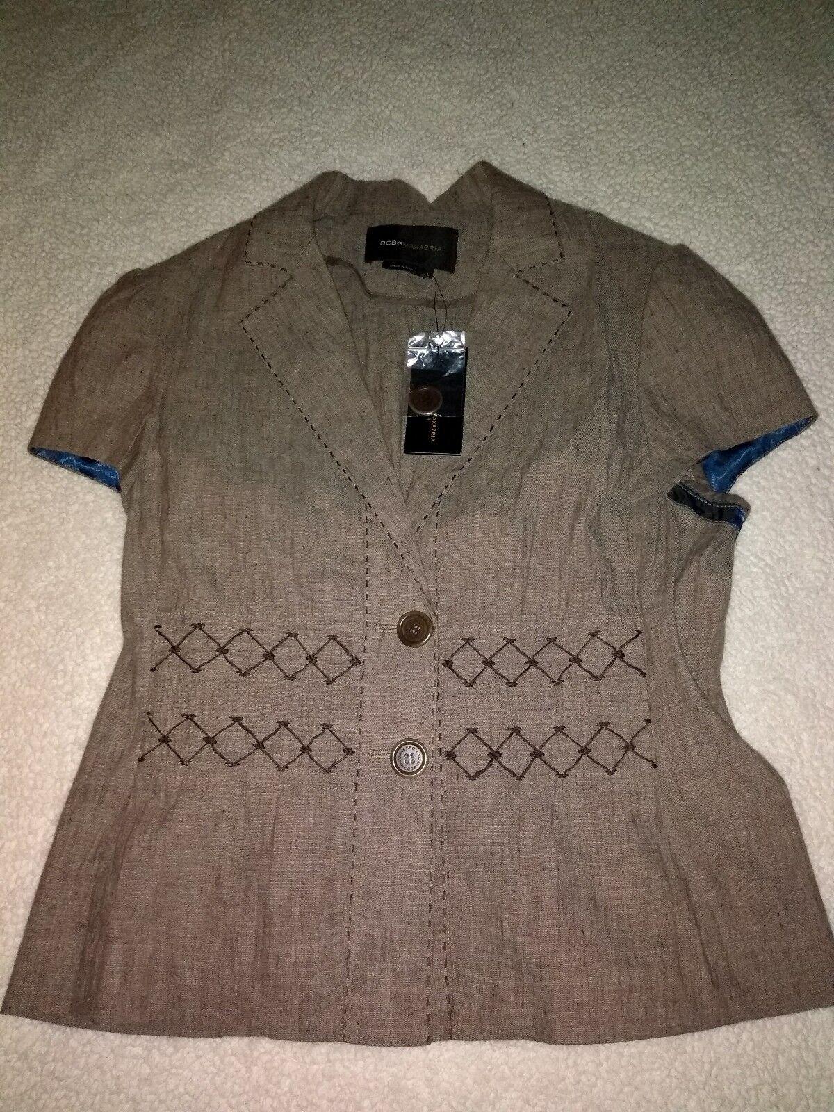 BCBGMAXAZARIA woven cardigan ( top) linen