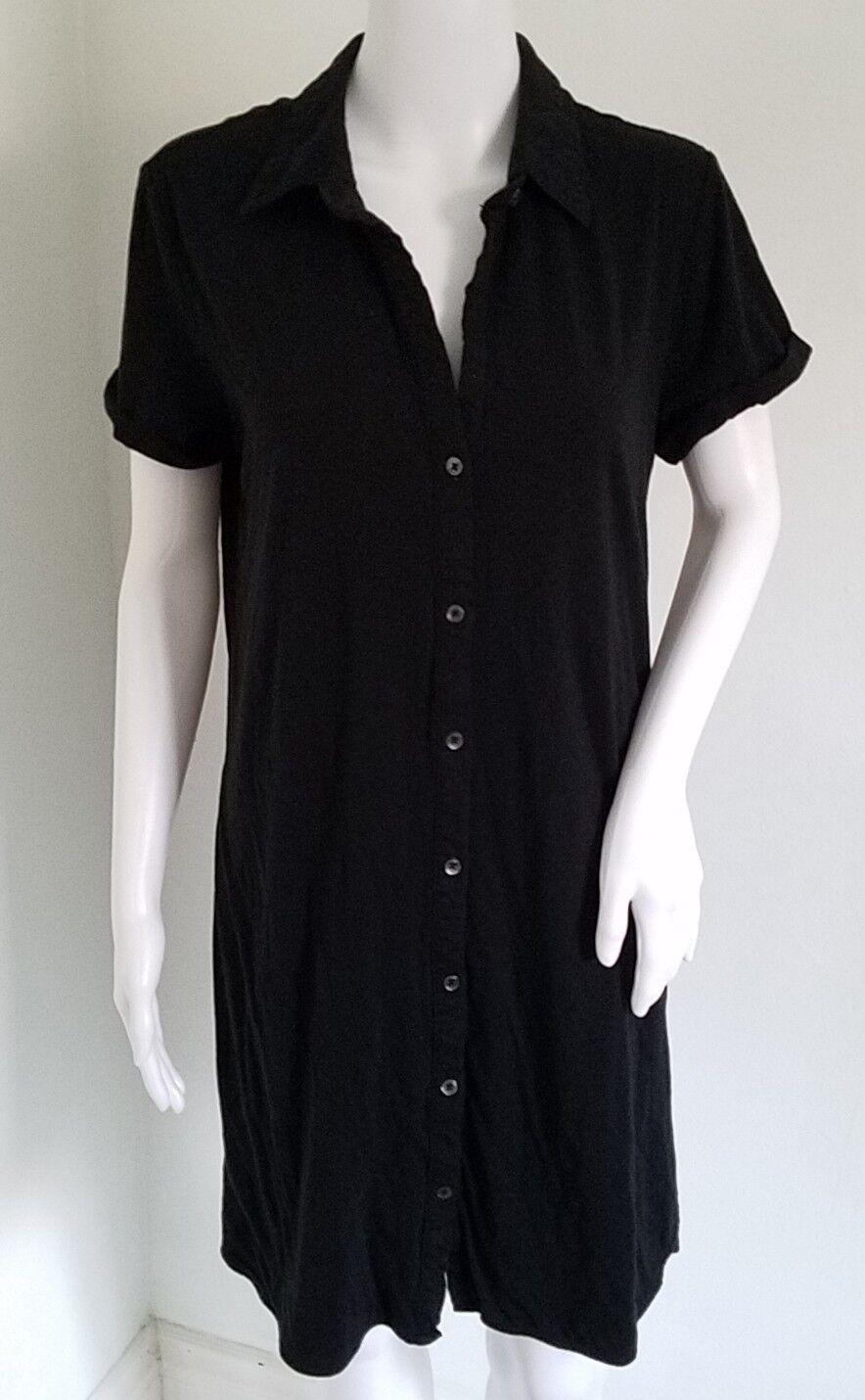 Standard James Perse schwarz Jersey Knit Tunic Button Down Dress damen Größe 3