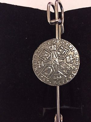 Tennis Racket  on a 3 inch Kilt Pin  Brooch for Scarves lead free English Pewter handmade in Sheffield uk Q259 Hats etc