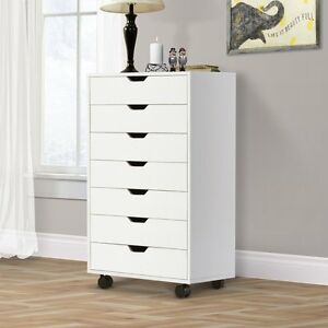 Image Is Loading Chest Cabinet Dresser 7 Drawers Storage Wheels Home