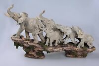 Elephant Family On Cliff Figurine Statue Sculpture Resin Home Garden Decor Gift
