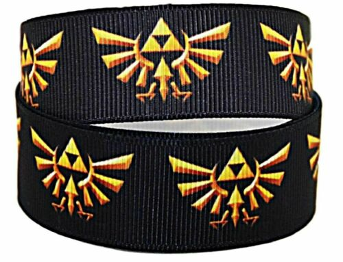 "Legend of Zelda Triforce Crest 1/"" Wide Repeat Ribbon Sold in Yard Lots"
