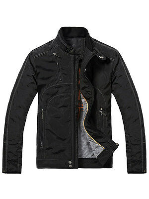 New Men's Quality Fashion Short Black Padded Quilted Bomber Casual Jacket Coat