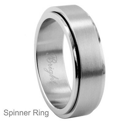 Personalized 8mm Stainless Steel Spinner Ring - Free Engraving