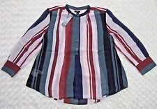NEW Ann Taylor Blouse Shirt Sheer Popover in Naomi Stripe, Sz Large Petite Red