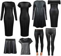 New Womens Ladies Cap Sleeve Bodycon PVC WetLook Midi Leggings Top Dress 8-26