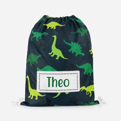Personalised Green Dinosaur Boys Girls Kids PE Swimming School Drawstring Bag | eBay