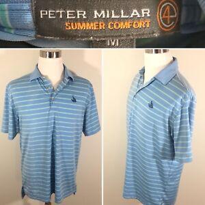acf5d6e60a2 PETER MILLAR Summer Comfort Polo Mens M  e4  Blue Green Quail ...