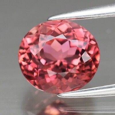 Orangy Pink Tourmaline Rubellite Mozambique VVS 2.42ct6.7x4.3mm Untreated Unheated