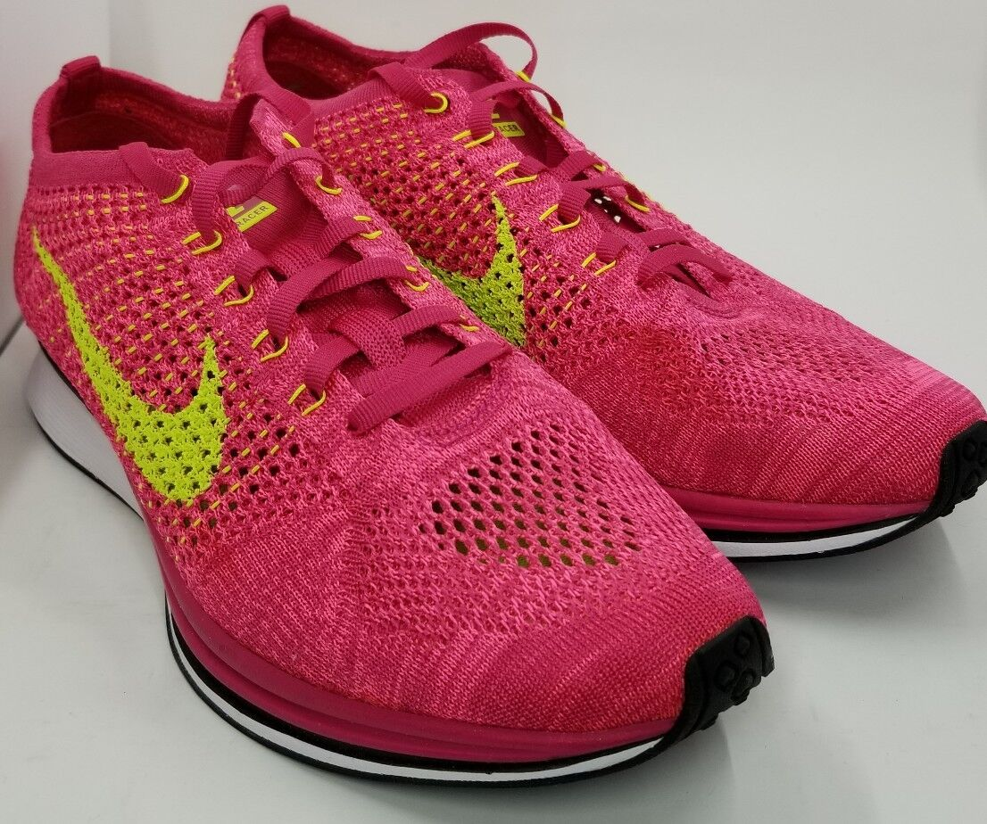 The latest discount shoes for men and women NIKE FLYKNIT RACER FIREBERRY VOLT GREEN PINK BLACK Comfortable