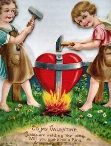 Cherubs-Hammering-Stand-Up-Die-Cut-Germany-Large-Mechanical-Valentine-Card