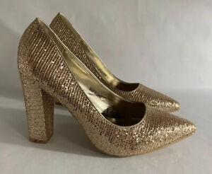 DIVA-Gold-Glitter-Faux-Leather-High-Heels-Court-Shoes-UK-7-EU-40-Original-Box