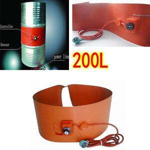 200L-55Gallon-240V-1000W-Silicon-Rubber-Band-Heater-fr-Metal-Oil-Drum-Heating-EB