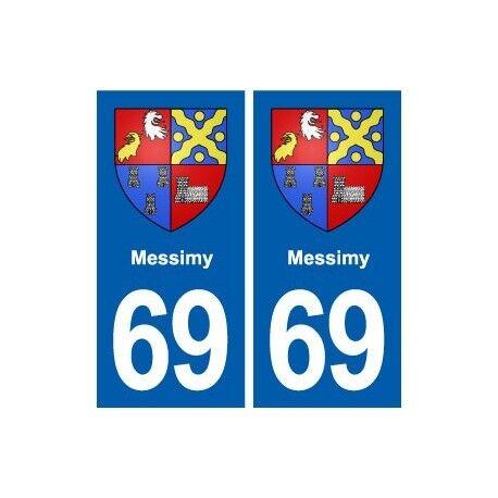 69 Messimy blason autocollant plaque stickers ville -  Angles : droits