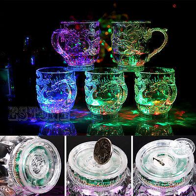 Creative Beer Cup Dragon LED Inductive Rainbow Color Flashing Light Glow Mugs