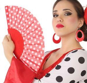 EVENTAIL-Tissu-ESPAGNOL-Accessoire-Deguisement-Femme-Flamenco-NEUF