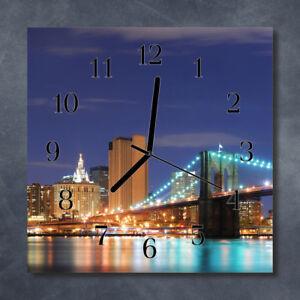 Glass-Wall-Clock-Kitchen-Clocks-30x30-cm-silent-Skyline-Bridge-Multi-Coloured