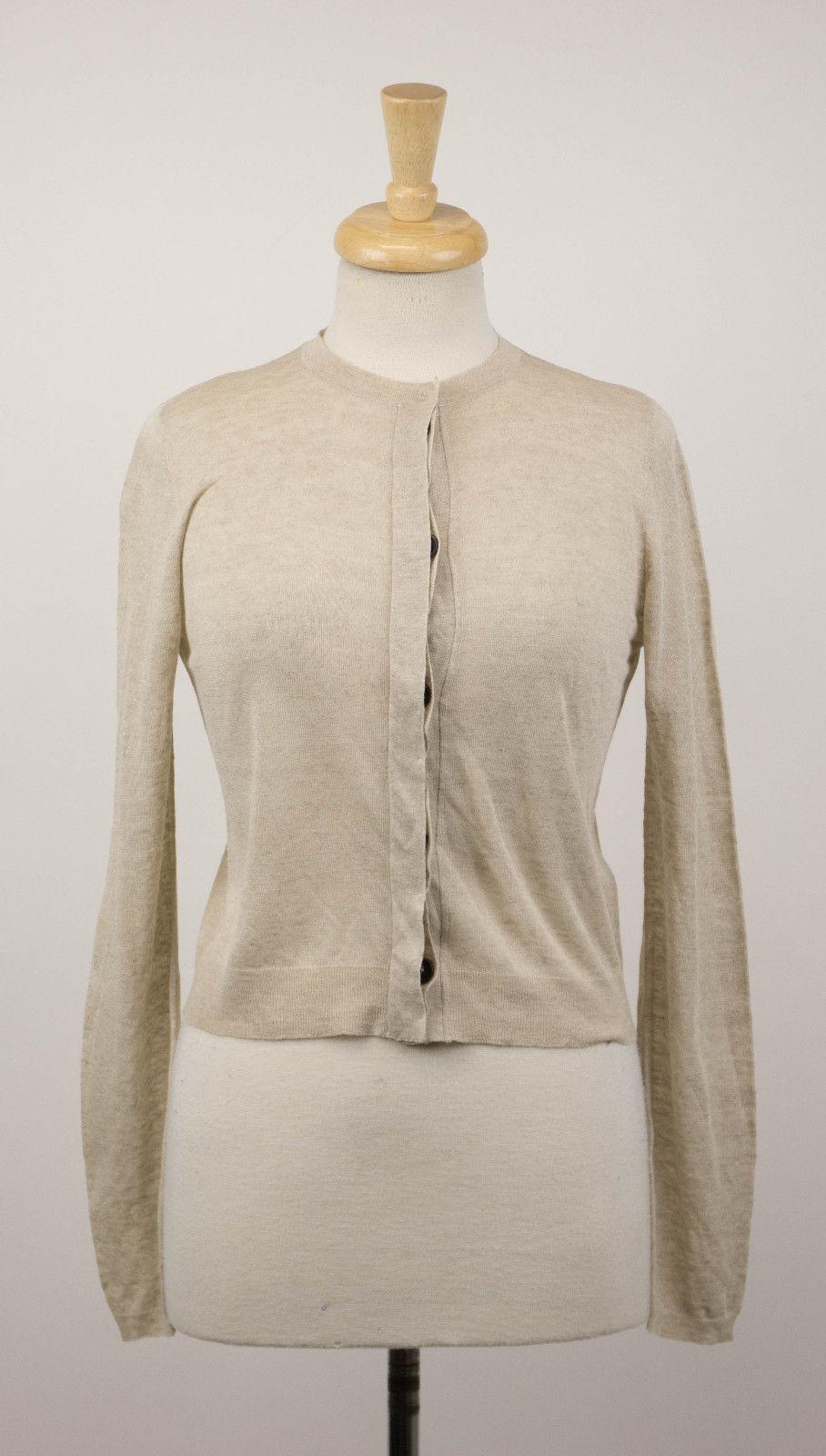 NWT BRUNELLO CUCINELLI Woman's Brown Linen Blend Cardigan Sweater Size M