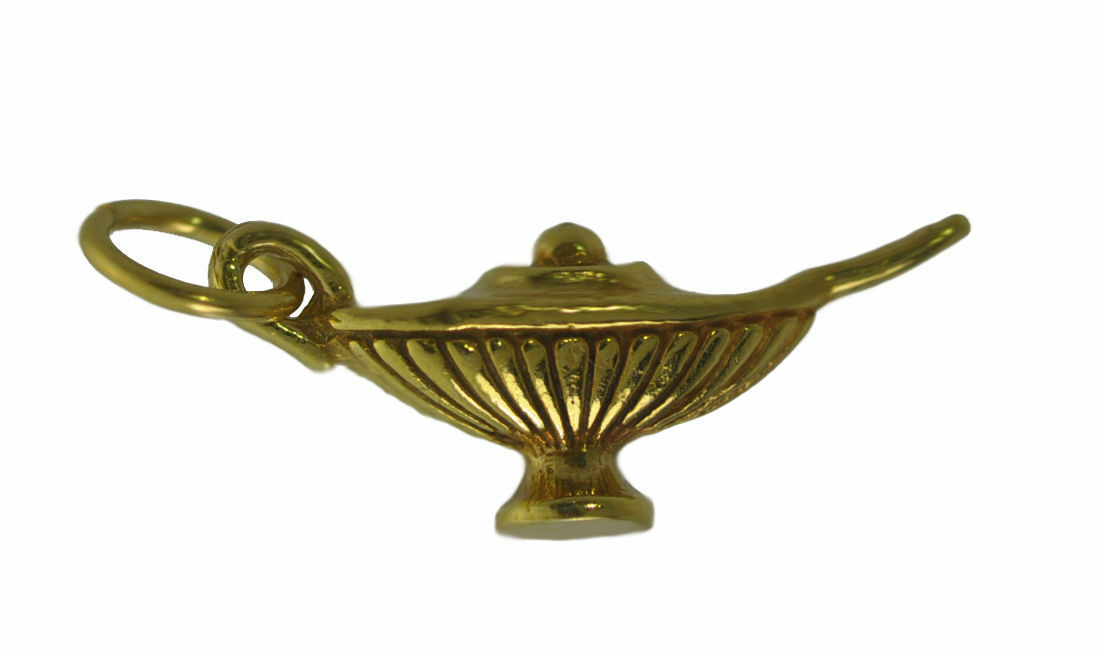 New Real 10K Yellow gold New Genie Lamp Aladdin Magic 3 wishes charm Jewelry 3D