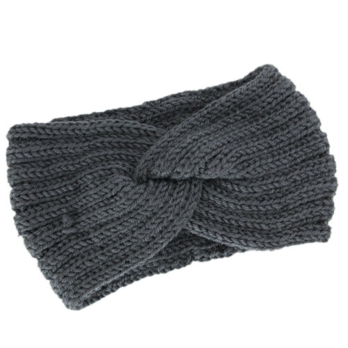 Women Winter Turban Knitted Woolen Bow Knot Headband Hair Band Accessories Solid