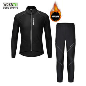 Bicycle-Jacket-amp-Pants-Set-Winter-Fleece-Thermal-Cycling-Jersey-Trousers-Warm