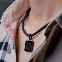 Power Ionics Mens Womens Titanium 3000Ions Black Carbon Fiber Pendant Necklace