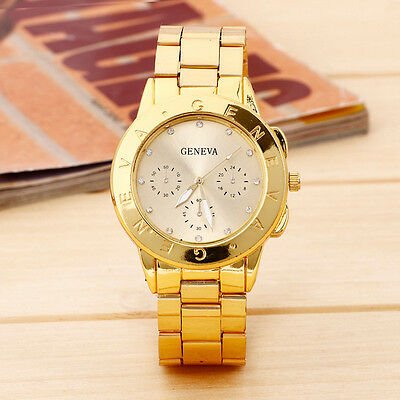 2015 New Geneva Ladies Women Girl Watch Stainless Steel Quartz Wristwatch