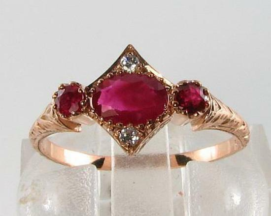 DAINTY 9CT pink gold INDIAN RUBY & DIAMOND ART DECO INS RING FREE RESIZE