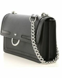 662fda85ad Details about PINKO MINI LOVE BAG IN CAVIAR LEATHER WITH INLAYS BLACK  authentic