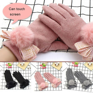 Ee-Fj-LX-Exterior-Mujer-Guantes-Pompon-Lazo-Pantalla-Tactil-Completo-Dedos