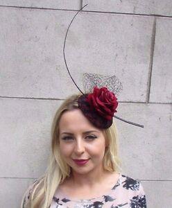053daf30219 Black Burgundy Red Rose Net Flower Fascinator Hat Ascot Hair Clip ...