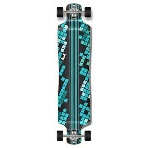 Yocaher Lowrider Black Digital Wave Longboard Complete