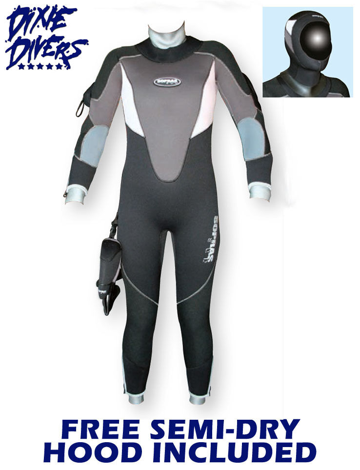 SOPRAS SUB   ICELADY  7MM SEMI-DRY SIZE XS WETSUIT FREE HOOD SCUBA DIVING COLD  order online