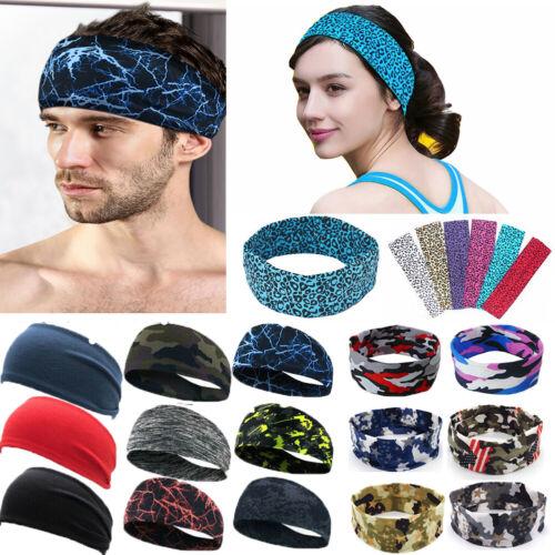 Men Women Wide Headband Sweatband Stretch Sweat Elastic Sport Yoga Run Hairband