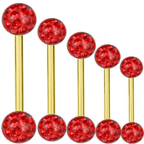 Piercing Bar Titanium Gold Plated 1,2 mm Multi Crystal Ball Red6-16 mm