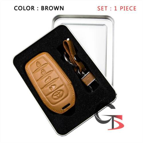 Fits Toyota Revo Fortuner Top 15 18 Key Remote Cover Leather Thread Brown 4B V1