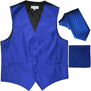 "New Men's Formal Vest Tuxedo Waistcoat_2.5"" necktie set striped prom royal blue"