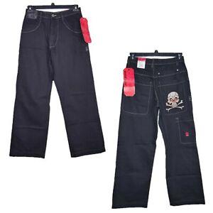 JNCO-Baggy-Fit-Wide-Leg-Mens-Jeans-Skull-amp-Cross-Bones-Size-29x30-Skater-VTG-90s