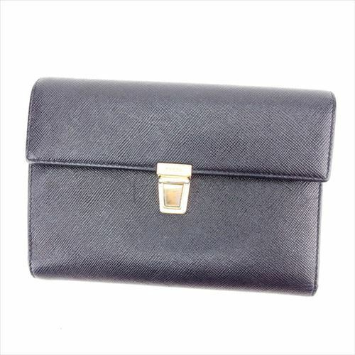 8da8dd591f Prada Wallet Purse Trifold Logo Black Gold leather Woman Authentic Used  D1824
