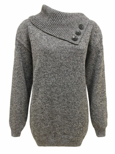 Ladies Women Knitted 3 Buttons Jumper Polo Neck Pullover Sweater Top Plus Sizes