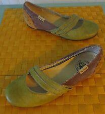 PALLADIUM Green Brown Double Strap Leather Burlap Mary Jane Flats Sz 9 EUC Artsy