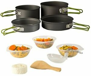 Wealers Camping Cookware 11 Piece Outdoor Mess Kit Backpacking