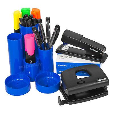 Big 6 Piece Office Stationery Set Black Metal Hole Punch Stapler Pens Supplies