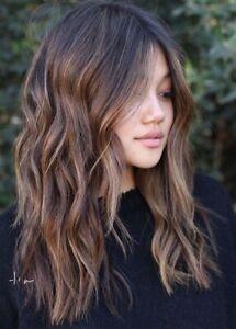 Shoulder Length Long Wavy Dark Brown Synthetic Women Wigs